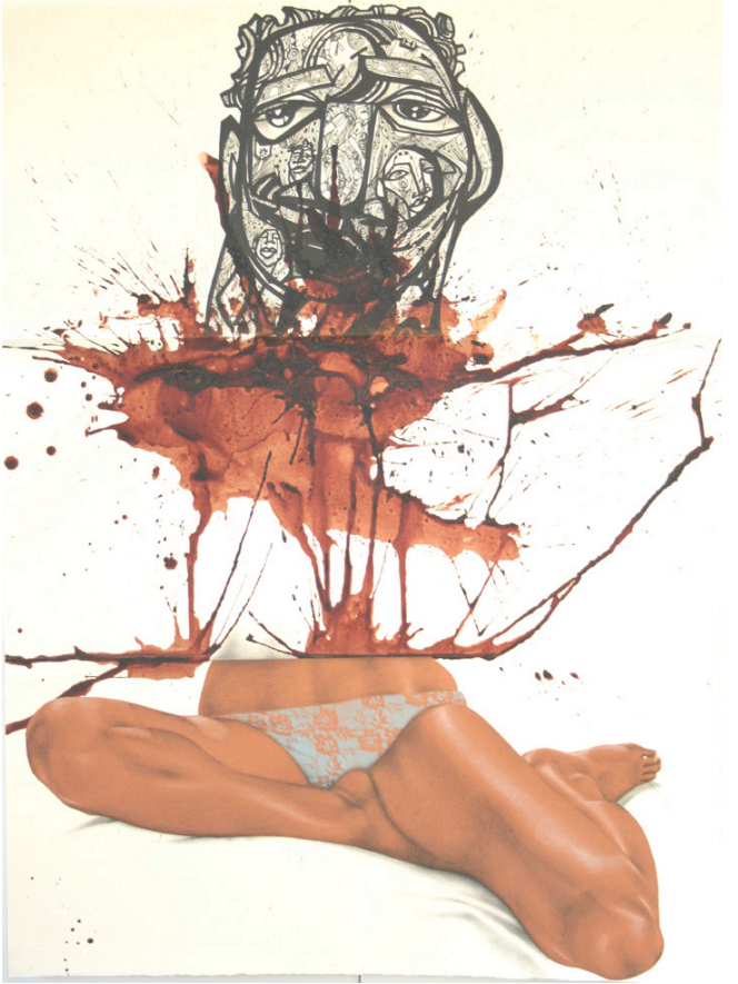 "ExquisiteCorpse Drawing 12. Jerry GANT, Jordan EAGLES, Bonnie GLORIS, Untitled/FKEC/-Home-Base, 2009, Ink, blood, charcoal, spray paint on paper, 30"" x 22"". c/o Paul Robeson Galleries"