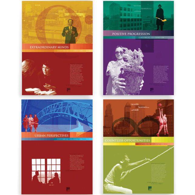 Rutgers University-Newark's Centennial Celebration, Poster Series. The collection address some of the unique characteristics and qualities of our distinctive, urban institution, through visual representations of the pillars of our collective educational experiences — Research, Perspectives, Advancements, Opportunities and the Urban experience. 2007. c/o Design Consortium