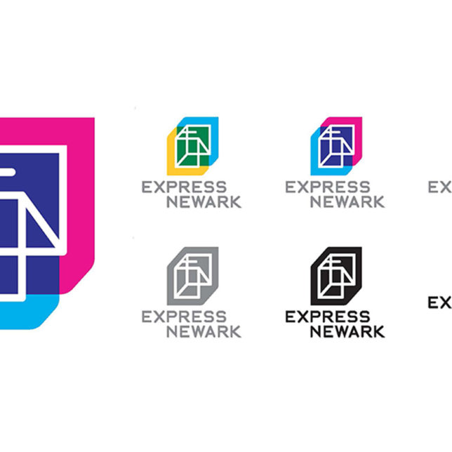 """Express Newark brand identity, primary and secondary logo mark's. The logomark's container was conceived as a symbol of interconnectivity and civic cross-pollination. Express Newark is an open system that benefits from the input of its many diverse partners. Formally, the mark's two open cubes merge to create a new shared plane – the ""third space,"" which is a blend of both fields of color and contains the logomark's wireframe."" *(Students: Veronica Benavides, Mark Carrione, Michael Cocciadiferro, Andrew Da Silva, Ken Delasalas, Jes D'Auria, Jennifer Jacob. c/o Design Consortium"