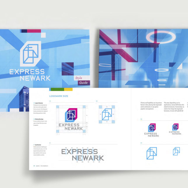 """Front and back cover and Logomark Guideline spread of the Express Newark Brand Identity Style Guide. (Students:Sarah Barcelos Veronica Benavides Rochelle Anne Bernal Tim Cahill, Mark Carrione Andreà Cassar Michael Cocciadiferro, Jes D'Auria, Andrew Da Silva Bianca Dasne Ken Delasalas Wilfredo Jimenez Tinhinane Khelifi Angel Lopez Manny Michviv, Nii Solomon Jennifer Yacoub)"" c/o Design Consortium"