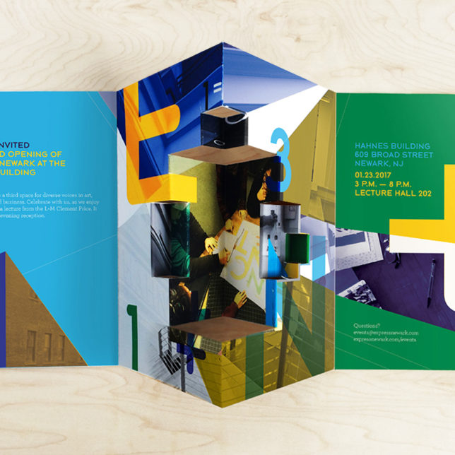 Express Newark Grand Opening Brochure (Student: Rochelle Anne Bernal) Spring 2017. c/o Design Consortium