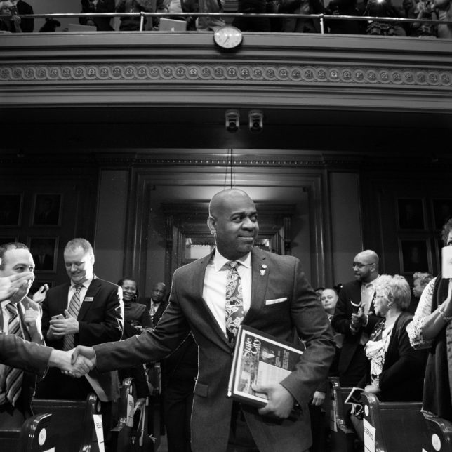 Mayor Ras Baraka enters the chamber before giving his first State of the City address in Newark, New Jersey on March 18, 2015.