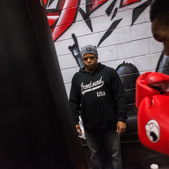 Mike Steadman coaches Moise Cinephus at the Ironbound Boxing Academy in Newark. c/o Ron Haviv
