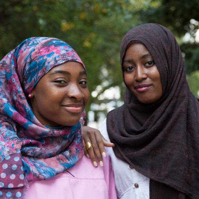Halima Mahmoud and Habeeba Yasin pose for a portrait during a break between filming for Hijabi World. c/o Julie Winokur