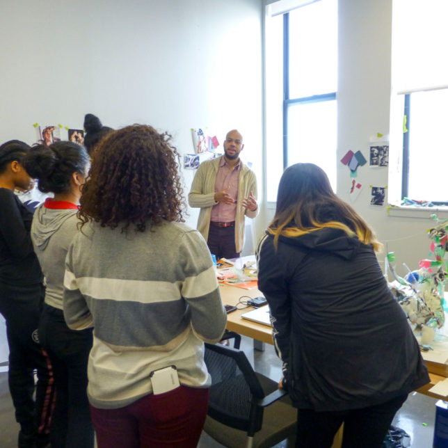Artist in Residence Ceaphas Stubbs leads a studio tour with Newark high school students. c/o Paul Robeson Galleries