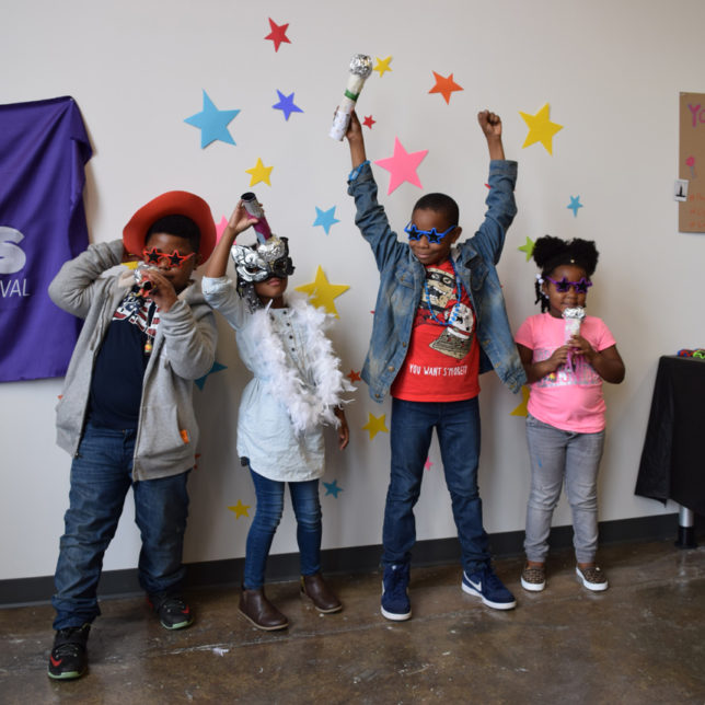 "Children participating in the Paul Robeson Galleries' ""You're A Star"" art activity during Newark Open Doors 2017. c/o Paul Robeson Galleries"