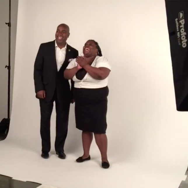 Behind the scene Mayor Ras Baraka and constituent. c/o Shine Portrait Studio