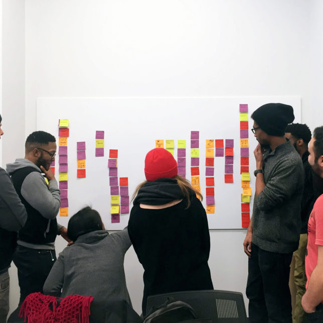 Visual Means students brainstorming. Spring 2017. (Students: Rochelle Anne Bernal, Timothy Cahill, Thomas Davis, Natalia Dymora, Jonas Larbi, Angel Lopez, Kelvin Peebles, Tabitha Prophete & Lisa Weng). c/o Visual Means