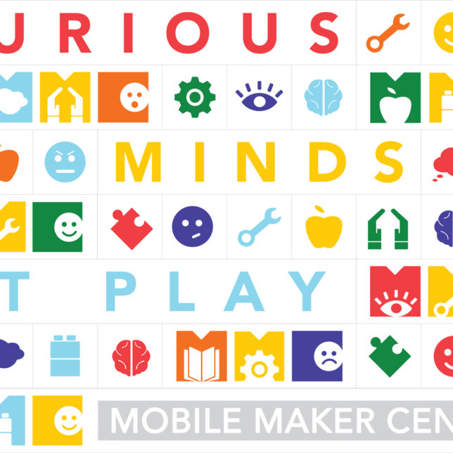 Mobile Maker Center sticker sheet, a goody for partipating children who contribute to data collection about learning during exploratory play. Spring 2017. (Students: Rochelle Anne Bernal, Timothy Cahill, Thomas Davis, Natalia Dymora, Jonas Larbi, Angel Lopez, Kelvin Peebles, Tabitha Prophete & Lisa Weng). c/o Visual Means
