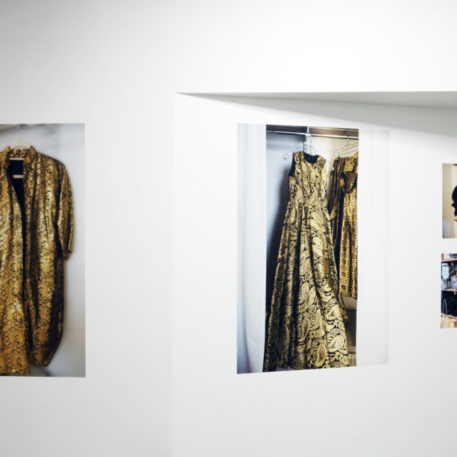 """Installation view of ""Deborah Willis: In Pursuit of Beauty: Imaging Closets in Newark and Beyond,"" 2018, at Shine Portrait Studio at Express Newark. c/o Deborah Willis & Shine Portrait Studio"