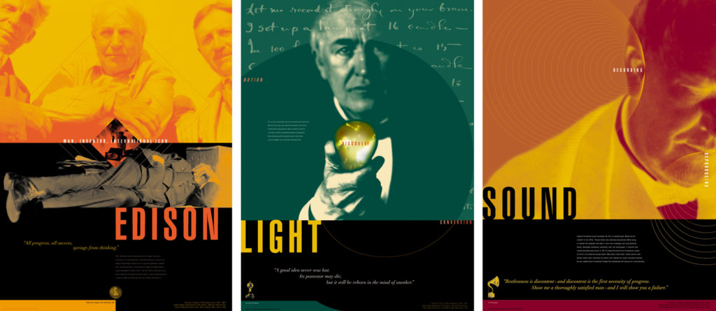 A five-part poster series that promoted the Thomas Edison National Historic Site in nearby Orange, New Jersey. (Left-to-right: Posters 1, 2, and 5). c/o Design Consortium.