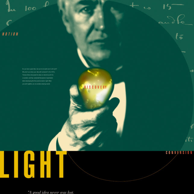 A five-part poster series that promoted the Thomas Edison National Historic Site in nearby Orange, New Jersey. Distributed to statewide institutions like post offices, libraries, museum and schools, this series was generated to promote this unique historical resource. We focused on Edison's odd inventive characteristics and his distinctive design process by highlighting words that introduced his more celebrated inventions—the lightbulb (LIGHT), the phonograph (SOUND) and the Kinetoscope (SIGHT) as well as an Introduction to EDISON himself and the RESULTS he created (5 of 5). c/o Design Consortium
