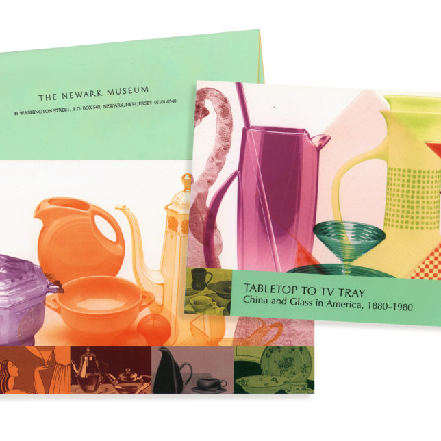 This invitation was sent to area residence and Museum members for the opening of this exhibition that highlighted the Museums china and glassware collection. c/o Design Consortium
