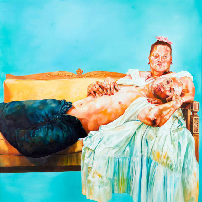 David Antonio Cruz, Puerto Rican Pieta, 2006, Oil on canvas, 70 x 70 inches, Collection of El Museo del Barrio, New York, Museum. c/o the artist