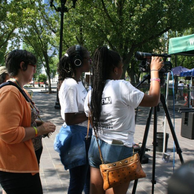 Military Park, Professor Wager and camper learning how to use the camera and sound. c/o Kadijah Taylor