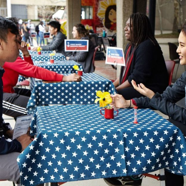 Rutgers University-Newark Sophomore, Ester speaking with a fellow RU-N student about What Makes America Great. With 5 minutes each, conversations are guided by questions aiming to break down political divides by understanding where our beliefs come from. This event is modeled after the documentary film Bring it to the Table, directed by Julie Winokur.  c/o Newest Americans