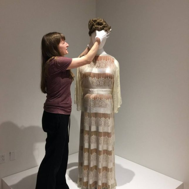 Elizabeth places the finishing touches on the Ella Fitzgerald gown. With Elizabeth Surles. c/o Institute of Jazz Studies
