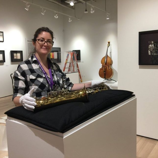 Don Byas's saxophone is sitting just right! Is that Curly Russell's bass in the background? c/o Institute of Jazz Studies