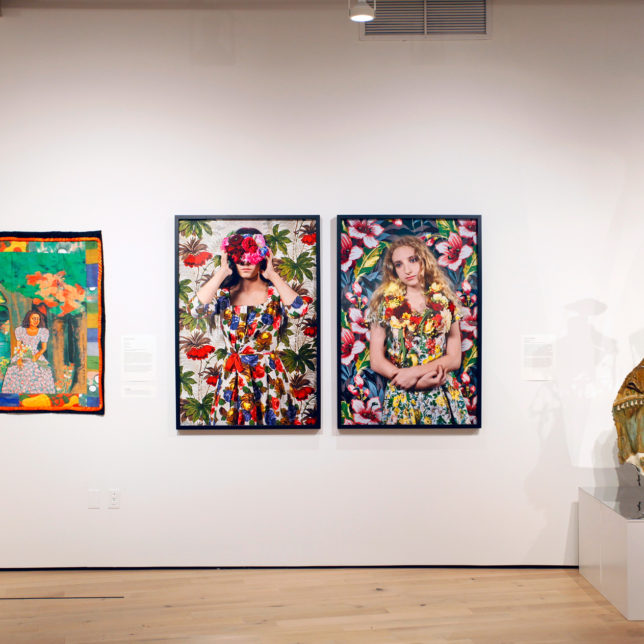 (Left to Right) Faith Ringgold, Listen to the Trees & Polixeni Papapetrou, Blinded, Spring & Kevin Blythe Sampson, Beulah's Ball Gown c/o Art Paxton & Paul Robeson Galleries