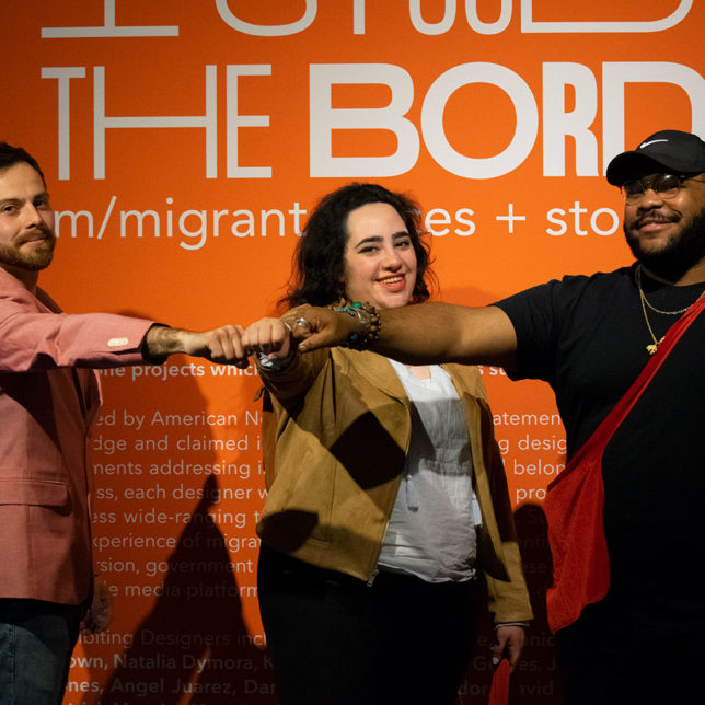 Photo from the opening reception of I STOOD AT THE BORDER, the 2019 Graphic Design Capstone Show. c/o Gustavo Morais