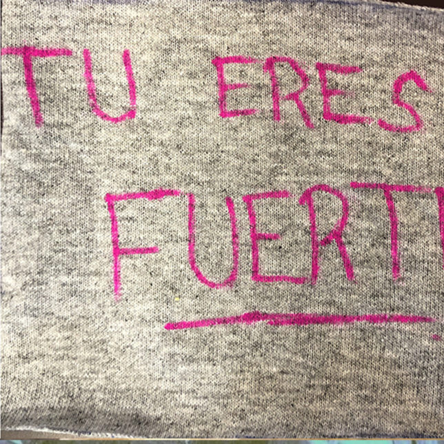 A square from the Clothesline Project quilt. c/o The Office for Violence Prevention and Victim Assistance, Rutgers University