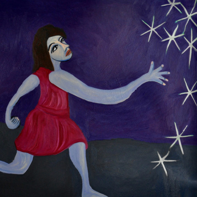 Painting of a woman in a red dress throwing jacks