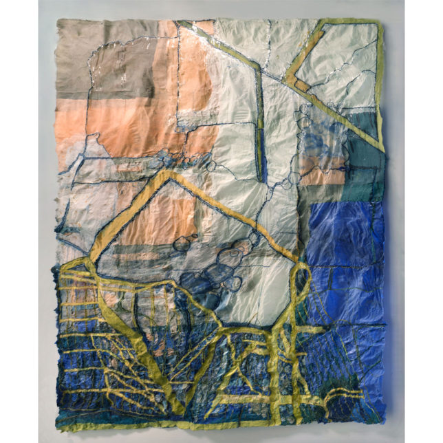 A textured paper collage, in blue, green, yellow and gray