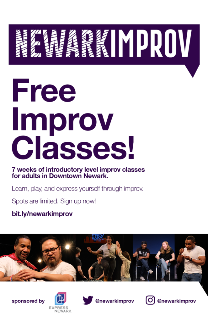 Pictured: the flyer for the Newark Improv Classes