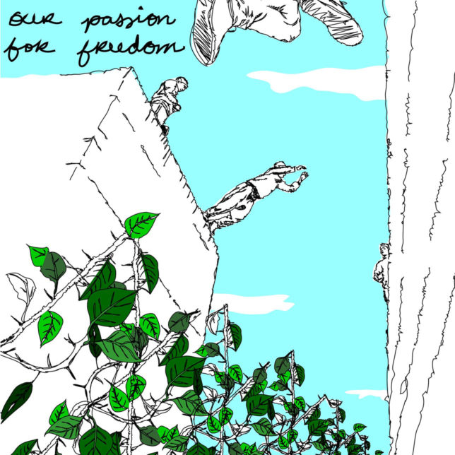 A screenprint that depicts people jumping across a divide