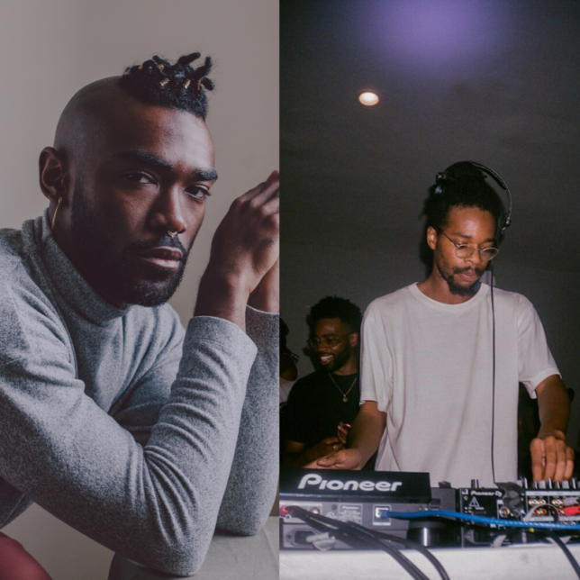 Left: Portrait of Khari Johnson-Ricks, Photography by Nathan Bajar, 2020. Right: DJ TAH, Performing at Boiler Room NJ, 2019.