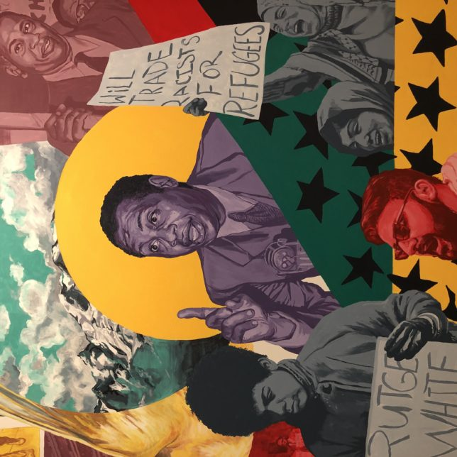 Detail of one of the Robeson Murals. It depicts Robeson's activism. Artist: Lenny Correa